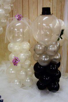 Balloon bride and grooms Balloon Centerpieces Wedding, Ballon Decorations, Wedding Balloons, Wedding Decorations, Dream Day Wedding, Balloon Crafts, Prom Decor, Big Balloons, Bachlorette Party