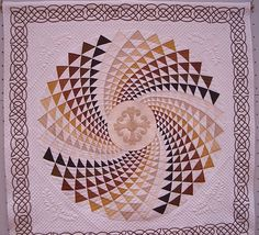 Dramatic medallion quilt with a beautiful Celtic border, from Osaka, Japan in 2005.