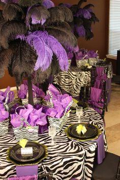 Purple and black zebra party  #wedding
