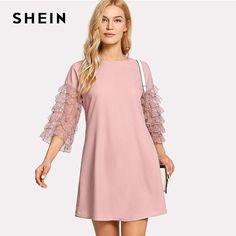 81d4087c4cc ... Lace Sleeve Tunic Shift Dress Pink Round Neck 3 4 Sleeve Plain Dress  2018 Women Layered Sleeve Casual Short Dress. Pink FashionFashion DressesMarcel  ...