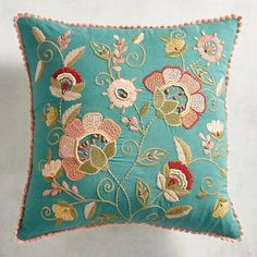 With its distinct desert color palette, our pillow presents an embroidered Jacobean-inspired floral design. Trimmed in pastel lace, it's versatile and will mix easily with solids, stripes or plaids. Cushion Embroidery, Floral Embroidery Patterns, Embroidery Suits Design, Embroidered Cushions, Crewel Embroidery, Machine Embroidery, Embroidery Designs, Decorative Hand Towels, Decorative Pillows
