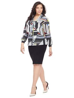 Geometric Printed Blouse by  Jete  Available in sizes L-XL and 1X-5X