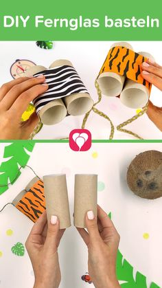 DIY DIY binoculars 🦁🐍🐵 - - DIY Fernglas basteln 🦁🐍🐵 – For little explorers! Make cool Binoculars made from empty toilet paper rolls! Very simple and soooo cool. For your # Children's birthday or the Party! Have fun tinkering! Your balloonas team - Diy For Teens, Diy For Kids, Crafts For Kids, Safari Party, Fall Preschool, Toilet Paper Roll, Diy Storage, Diy Videos, Kids And Parenting