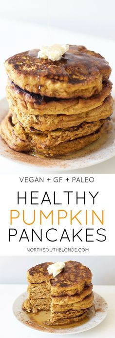 Healthy Recipes Healthy Pumpkin Pancakes (Vegan, Gluten-Free, Grain Free, Paleo) - Perfectly fluffy pumpkin pancakes will satisfy your cravings this fall - without all the calories and carbs. Delicious and healthy at the same time! Pancakes Vegan Healthy, Paleo Breakfast, Breakfast Recipes, Paleo Diet, Healthy Eating, Paleo Pumpkin Pancakes, Pancakes Cinnamon, Paleo Vegan, Breakfast Pancakes
