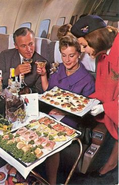 """Airplane food - Fifties  and the song I am singing now is.... """"Long ago and far away..........""""...hahaha  Good things really don't last! Retro Airline, Airline Travel, Air Travel, Vintage Airline, Travel Deals, Travel Hacks, Travel Essentials, Budget Travel, Travel Tips"""