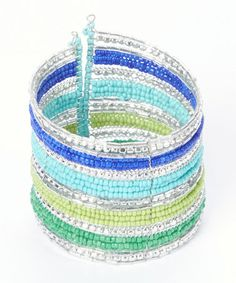 This Silver & Blue Stripe Beaded Cuff by ZAD is perfect! #zulilyfinds