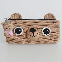 Crochet Bear Choco Bear pencil case, original made by goodluck_clover Marque-pages Au Crochet, Crochet Mignon, Crochet Bear, Love Crochet, Crochet Crafts, Crochet Dolls, Crochet Projects, Crochet Pencil Case, Pencil Case Pattern
