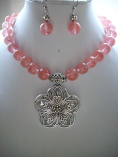 SALE Cherry Quartz Bead Necklace with Large by DesignsbyPattiLynn, $45.00