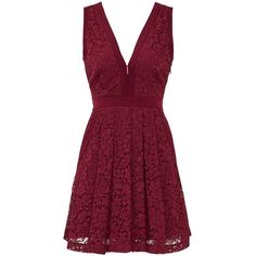 Rental Free People Cranberry Crush Dress found on Polyvore featuring dresses, vestidos, short dresses, red, sleeveless lace dress, v neck lace dress, short lace dress and purple dress