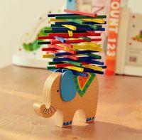 Juguetes de bebé juguetes educativos equilibrio elefante de bloques de juguetes de madera de haya de madera equilibrio del juego bloques para niño
