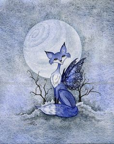 Blue Moon Fox winter 8X10 PRINT by Amy Brown by AmyBrownArt