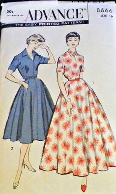 Uncut Sewing Pattern Advance 8666 50s by hookandneedlepattern, $15.00