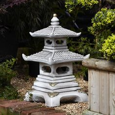 Very attractive three tier Japanese Pagoda garden ornaments featuring a satin white antique finish with gold trim. Garden Ornaments Uk, Japanese Garden Ornaments, Japanese Garden Lanterns, Japanese Stone Lanterns, Japanese Garden Design, Chinese Garden, Japanese Pagoda, Japanese Koi, Japanese Gardens