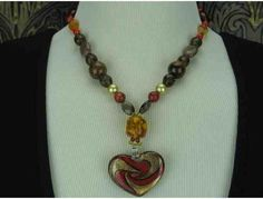 1/KIND Romantic Necklace w/Amber, Coral, Tigers Eye and Art Glass Heart Pendant!