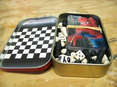 Reuse Altoid Boxes for travel games.