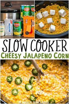 Slow Cooker Cheesy Jalapeno Corn is a spicy side dish with spicy jalapenos, corn, and cream cheese. - The Magical Slow Cooker Crock Pot Slow Cooker, Crock Pot Cooking, Slow Cooker Recipes, Crockpot Recipes, Cooking Recipes, Slow Cooker Creamed Corn, Cream Cheese Corn, Cream Cheese Stuffed Jalapenos, Jalapeno Cream Corn