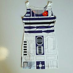 """R2D2 Star Wars dress Very cute and stretchy dress is Star Wars themed and it looks like the robot R2D2! This material is stretchy and made of polyester and spandex. Scoop neck tank top shoulder straps. This is one size fits most! Chest is 34"""" 28 waist and dress is 31 1/2"""" long. Dresses Mini"""