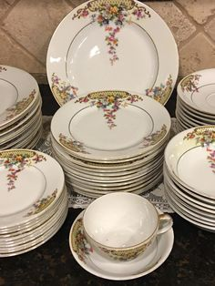 Items similar to Czech Victoria Dishes ~ 57 pieces ~ Multicolor Florals, Lattice, Cream Rim ~ Excellent Condition! on Etsy Vintage Dinnerware, Dinnerware Sets, China Dinnerware, Vintage Dishes, Vintage China, Vintage Plates, Dinner Sets, Dinner Ware, Bone China