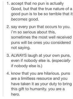 Puns - a great reword in life