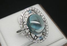 Engagement Ring   4 Carat Blue Topaz Ring With by stevejewelry, $989.00