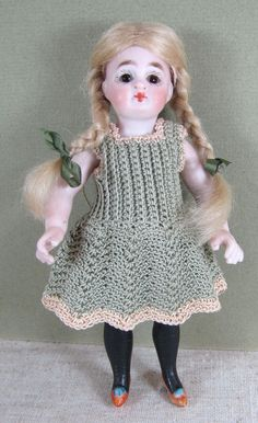"""5 3/4"""" Kestner All Bisque Mignonette with Black Stockings & Tan Slippers"""