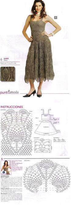 "By the summer, ""pineapple"" crochet dress FREE Pattern Crochet Skirts, Crochet Clothes, Knit Crochet, Crochet Chart, Dress Patterns, Crochet Patterns, Pineapple Crochet, Crochet Wedding, Crochet Woman"