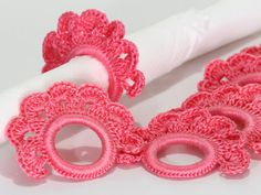 This listing is for the PDF pattern only, not for the finished product.  This pattern will guide you in making beautiful crochet napkin rings  The