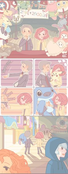 Date Night Hawkeye and Black Widow and OHMIGOD THATS JACK FROST AND THE TENTH DOCTOR AND MERIDA IN THE LAST PANEL YES YES YES WIN