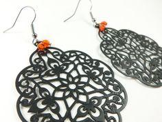 Orange Earrings Black Filigree Halloween Dark Boho Chic by Jalycme