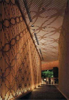 the wood have this natural effect which is really beautiful. Corridor Lighting, Interior Lighting, Screen Design, Wall Design, Ceiling Design, Lighting Concepts, Lighting Design, Architecture Details, Interior Architecture