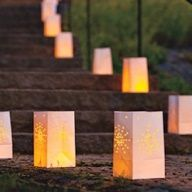 Light up your walkway with Star Snow Luminarias - would be so beautiful for a winter wedding or event! #Solutions