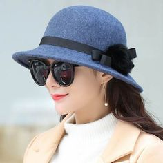 7d323a79 Autumn winter hairball bucket hat for women with bow bowler felt hats