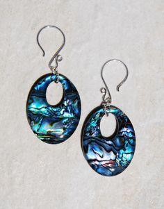 Sterling Silver Paua earrings, abalone earrings, shell earrings, sterling earrings, handmade earrings, beach earrings, oval shell earrings by KarmaKittyJewelry on Etsy