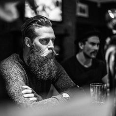 Mustache, beard and slicked back hair~ Manly Badass Beard, Epic Beard, Great Beards, Awesome Beards, Bart Tattoo, Beards And Mustaches, Moustaches, Bad Beards, Long Beards