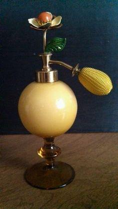Vintage Art Deco Yellow Glass Perfume Atomizer Bottle