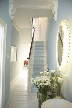 Calm and Cool light blue.  love the painted stair runner.