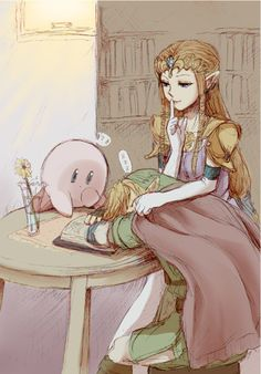 Kirby, Zelda, and Link<3 this is cute :)