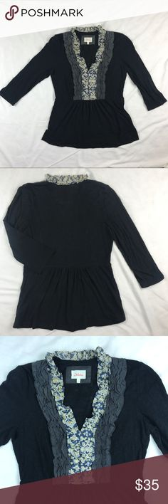 """Anthropologie Deletta Tuxedo Ruffle Pleated Top Anthropologie Deletta Tuxedo top in black wih ruffle pleated neckline. Gathered waist for peplum style silhouette. 3/4 sleeves. 100% cotton. Length 25.5"""" and bust 18"""". Anthropologie Tops"""