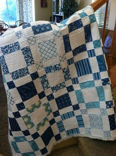 Sea of Squares quilt. Wish these fabrics were still available. Would love to make a quilt in blues & white someday.