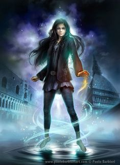 Modern day mage flexing her powers, urban fantasy inspiration  La Viaggiatrice di O - Paolo Barbieri Art