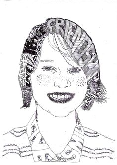 Calligram Portrait! Words to express yourself! (Miss Allen's 2012/13 Year 9 Class)