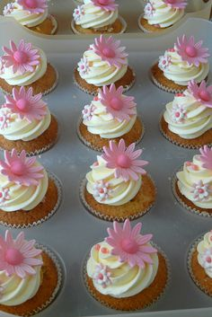 cute cupcakes for baby shower or wedding shower & the flower decorations could be changed to the color or flower that the bride will be using in her wedding