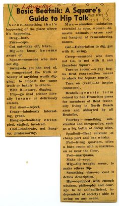 Basic Beatnik: The Square's Guide to Hip Talk * Denver Post, May 11, 1959 #Beat #Generation