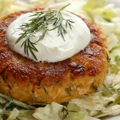 These salmon burgers are THE YUMMIEST! and made with just five ingredients. The best for a quick + easy high protein lunch or dinner. #cleaneating #realfood #salmon #seafood #burger #sugarfree #healthy | pinchofyum.com