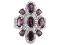 3.32ctw Oval And Pear Shape Rhodolite With .51ctw Round White Zircon S