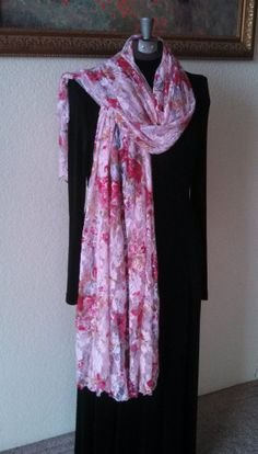 """SuZQ's Super Scarf! * Pink Floral Stretch Lace * 55"""" X 80"""" * Long Scarf, shawl, skirt, sarong, bathing suit cover-up, post-workout *"""