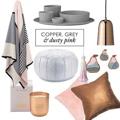 Copper, grey and dusty pink is a pretty great colour combo don't you think? We think so, check o Pink Bedroom Design, Pink Bedroom Decor, Pink Bedroom For Girls, Master Bedroom Interior, Pink Bedrooms, Gray Interior, Trendy Bedroom, Bedroom Ideas, Copper Bedroom