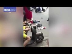 Crash for cash! Guy DELIBERATELY smashes into bus in China