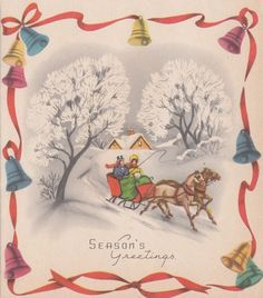 Vintage Greeting Card Christmas Bells Old-Fashioned Horse Drawn Sleigh r478