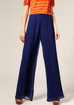 Blue Pleated Elastic Waist Loose Long Chiffon Pants